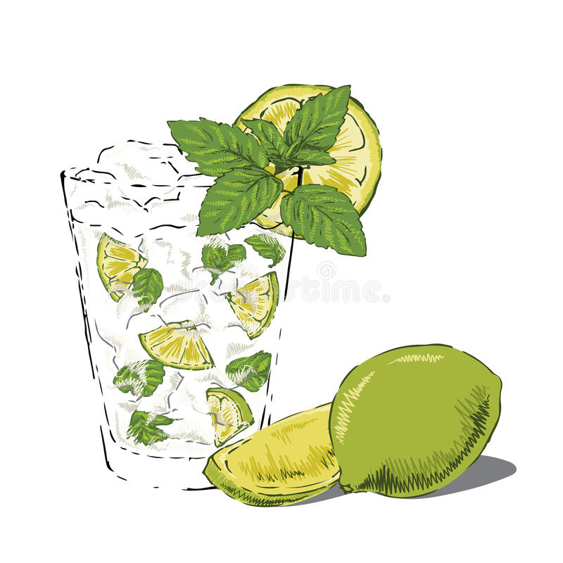 Mojito With Lime And Mint Stock Photos