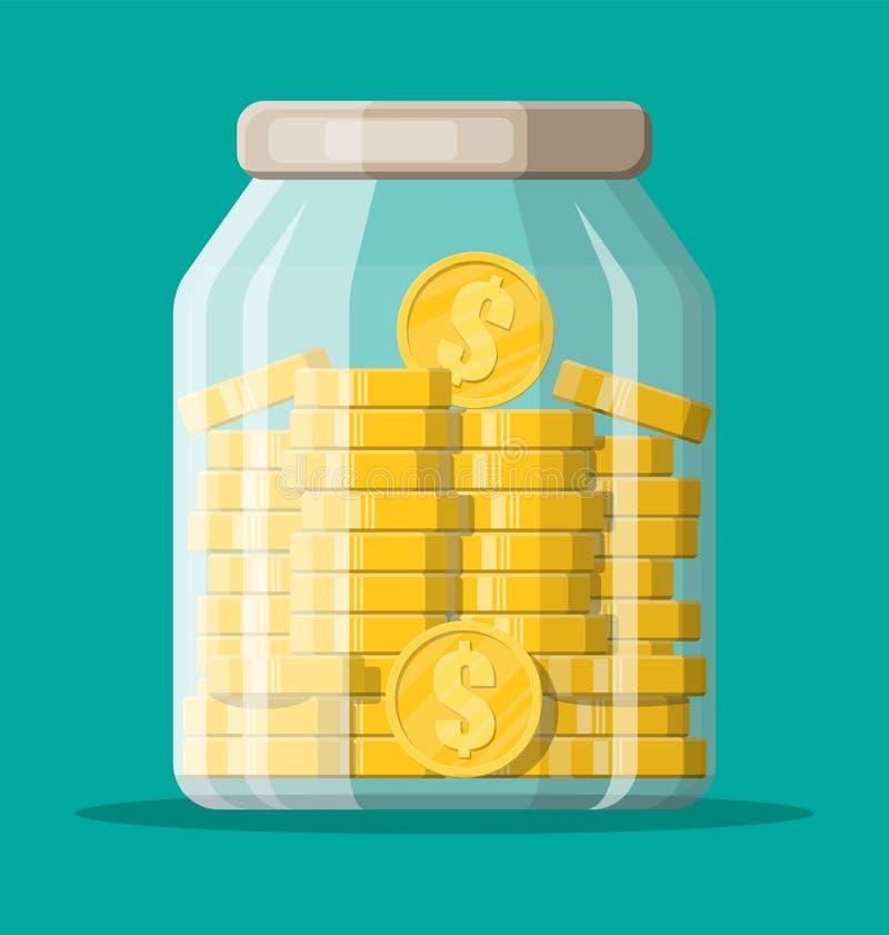 Glass money jar full of gold coins. vector illustration