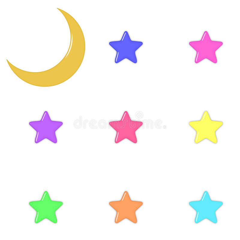 Download Glass Moon And Pastel Stars Stock Illustration - Image: 1773061