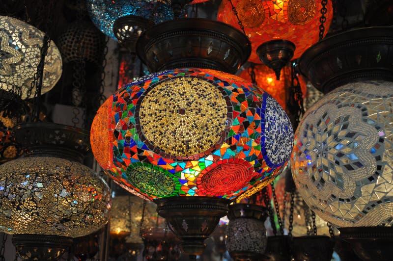Glass mosaic lanterns. Vivid colours glass mosaic lanterns stock images