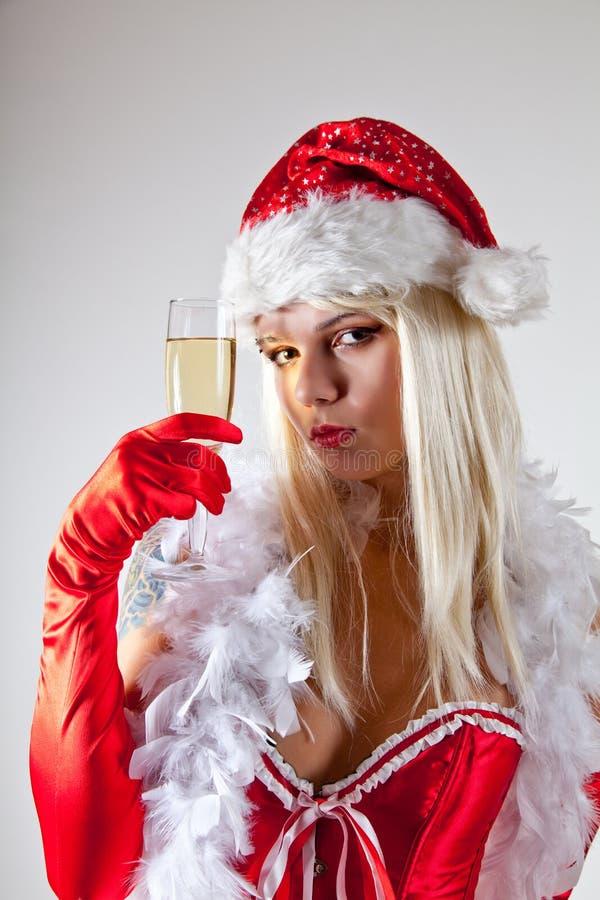 glass mrs sinnliga santa för champagne royaltyfria bilder