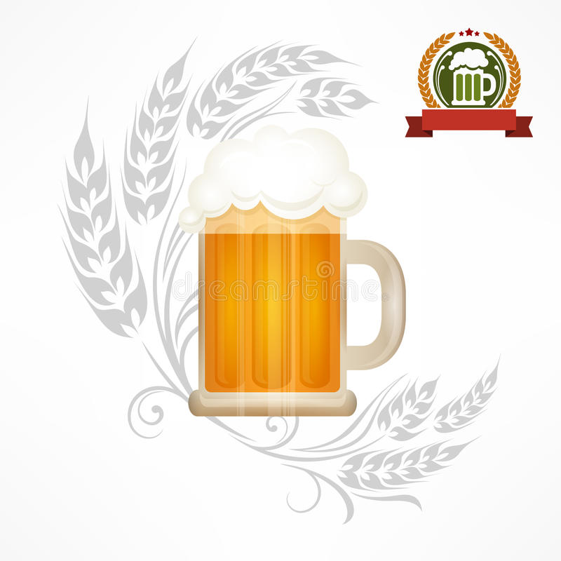 Glass mug of beer. Light beer in glass mug with wheat ornate, illustration royalty free illustration