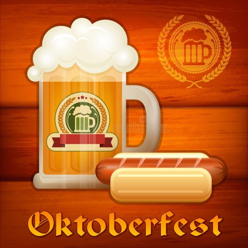 Glass mug of beer & sausage vector illustration
