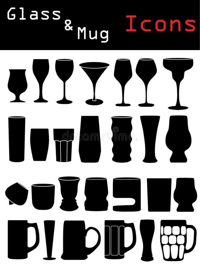 Download Glass & Mug Icons stock vector. Image of merlot, vodka - 10049458