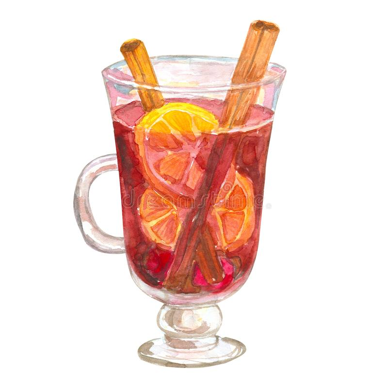 A glass of mulled wine with oranges and cinnamon. Glintwine. Hand drawn watercolor illustration. Isolated on white background. A glass of mulled wine with royalty free illustration