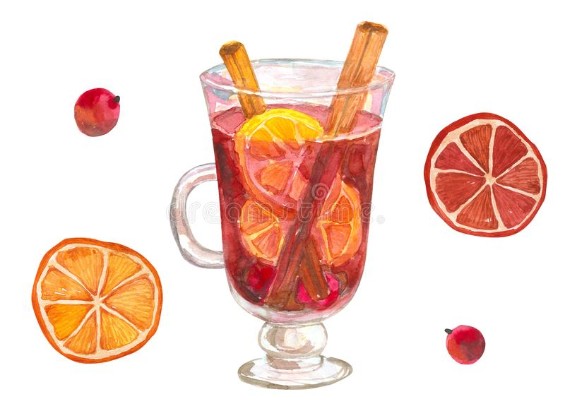 A glass of mulled wine with oranges and cinnamon. Glintwine with winter spices. Hand drawn watercolor illustration. Isolated on. A glass of mulled wine with stock illustration