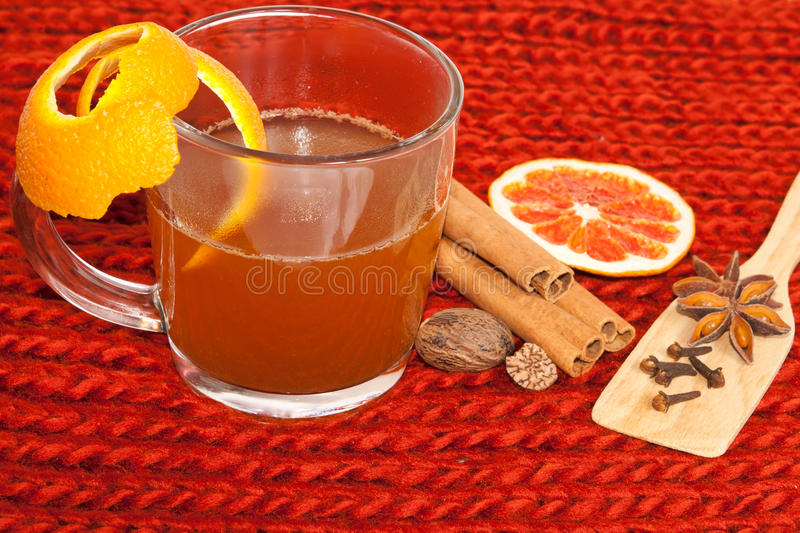 Download Glass Of Mulled Wine On Woven Stock Photo - Image: 22541630