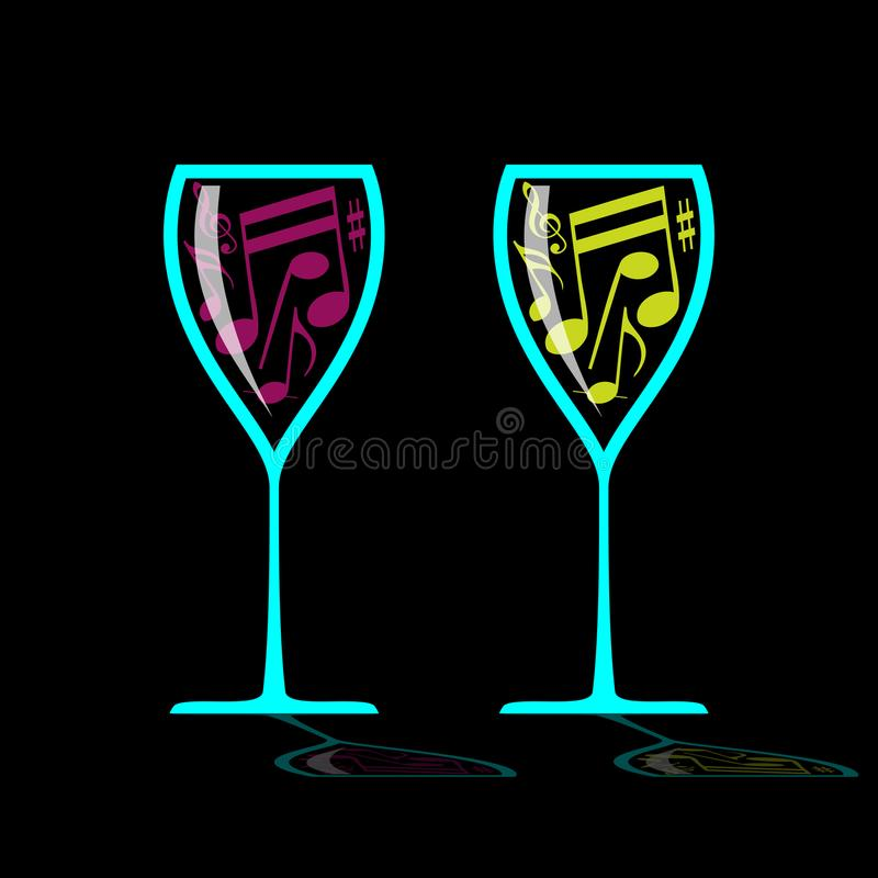 Glass of music royalty free illustration