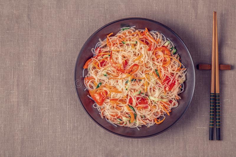 Glass noodle salad with cucumber pepper and carrot. stock images