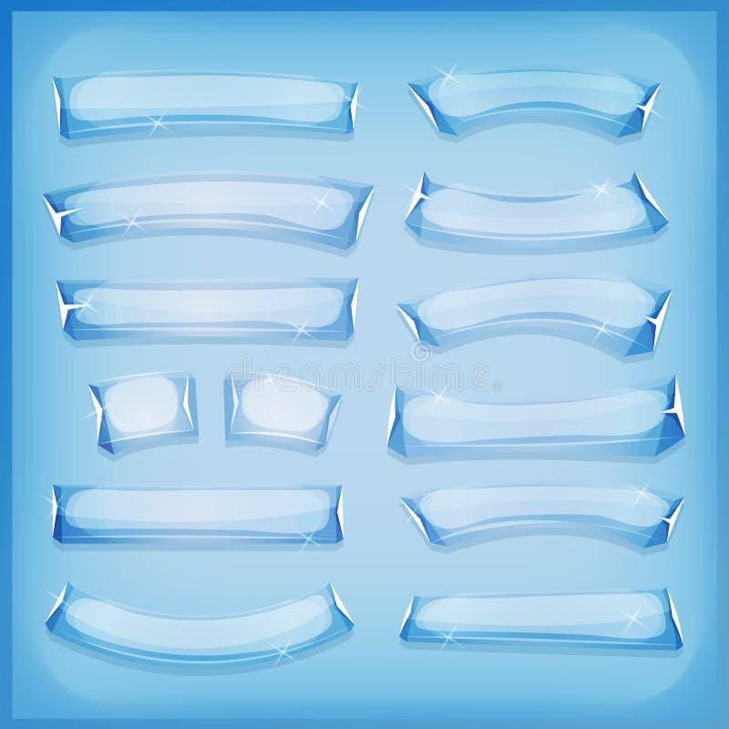 Glass is och Crystal Banners för tecknad film stock illustrationer