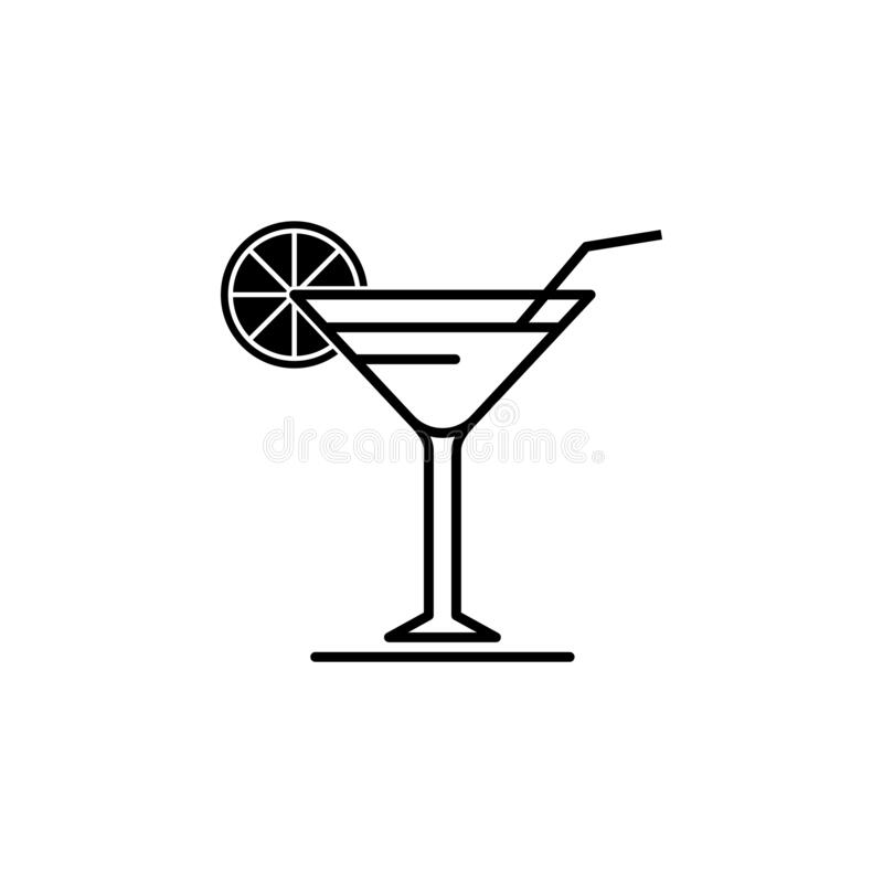 Free Glass Of Lemonade Icon. Cold Beverage In Glass With Lemon And Straw Isolated Outline Sign. Royalty Free Stock Image - 199751586