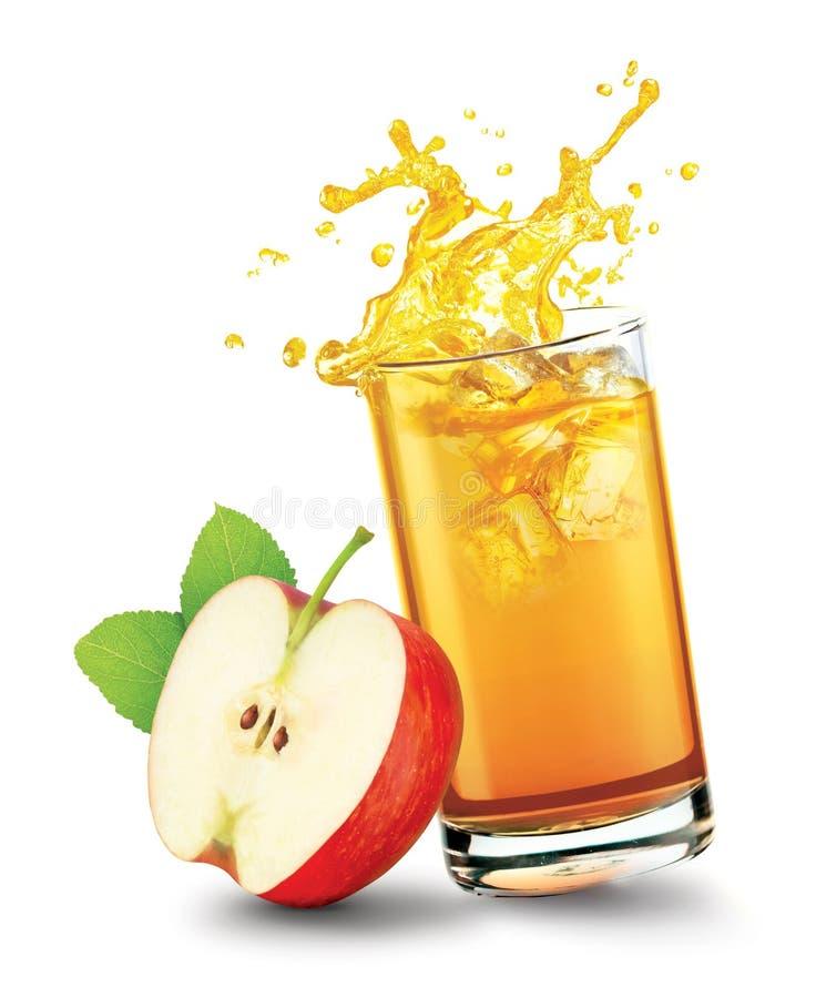 Free Glass Of Splashing Apple Juice With Apple Fruit On White Background Royalty Free Stock Image - 182547986