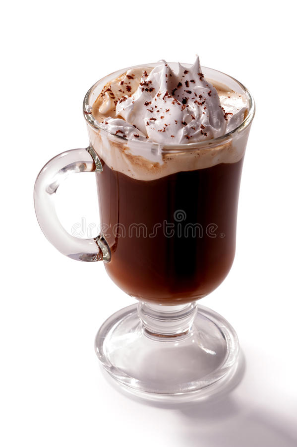 Free Glass Of Viennese Coffee Topped With Whipped Cream Isolated On White Background Royalty Free Stock Images - 71488819