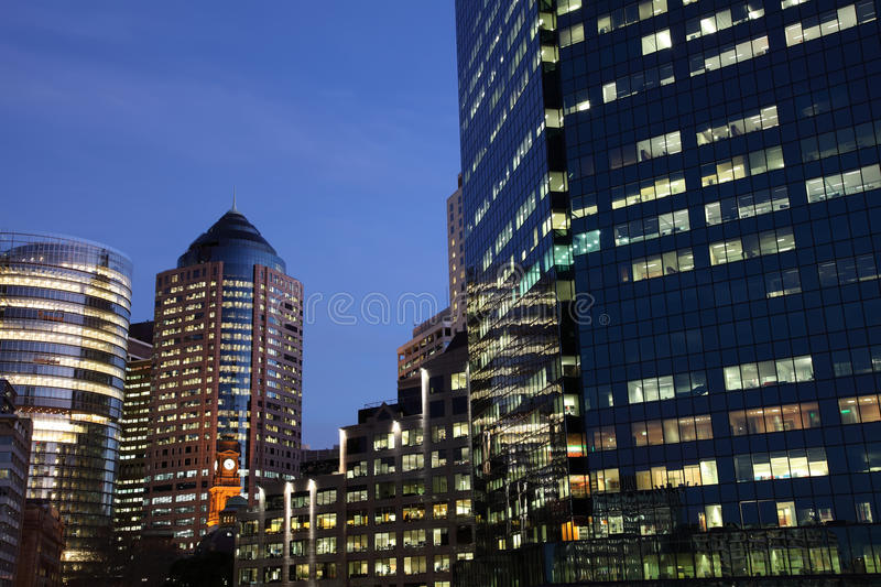 Glass Office Blocks At Dusk Stock Images