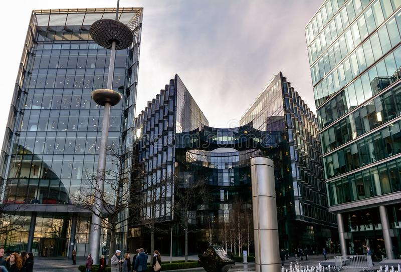 Glass office buildings in London business center royalty free stock photos