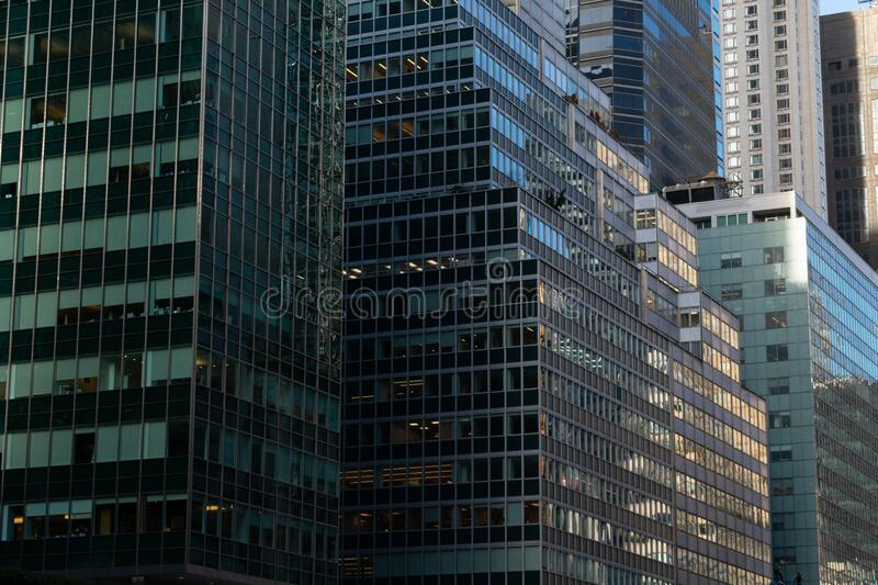 Glass Office Buildings in Midtown Manhattan on Park Avenue royalty free stock image