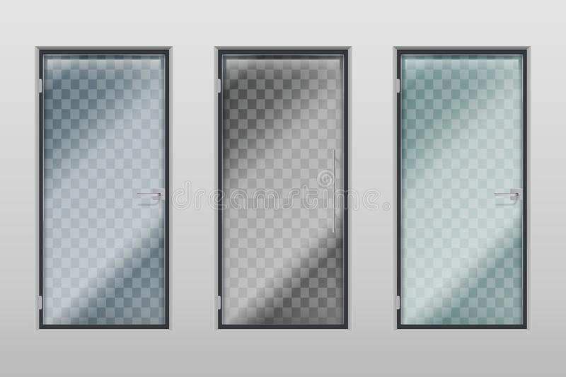 Glass office doors. Modern interior transparent door with handle and lock. Vector set vector illustration
