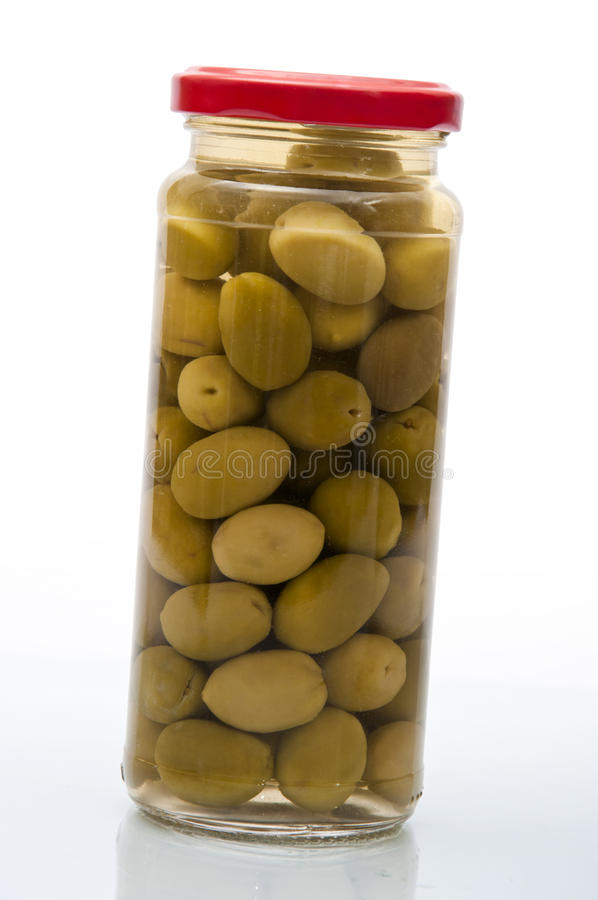Glass Olives Jar royalty free stock photography
