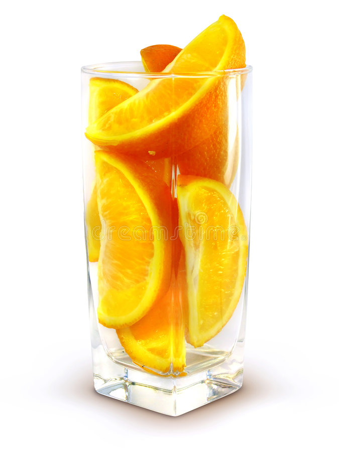 Glass with orange fruits royalty free stock photos