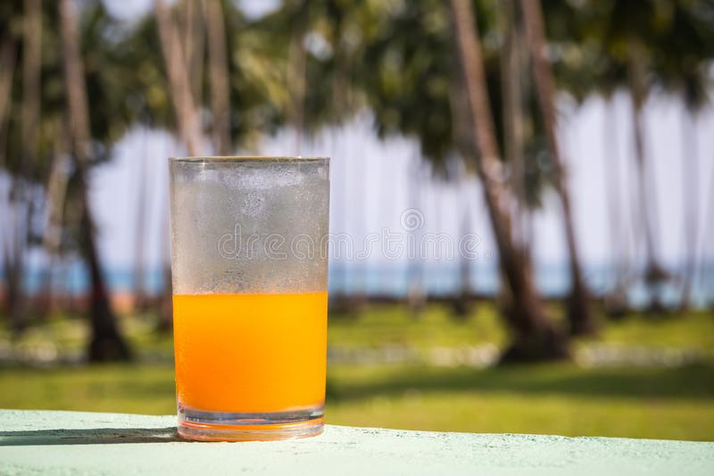 Glass of orange juice on a beach table. Glass of orange cold juice on a beach table. beautiful tropical island landscape. On the background of the palm grove royalty free stock photography