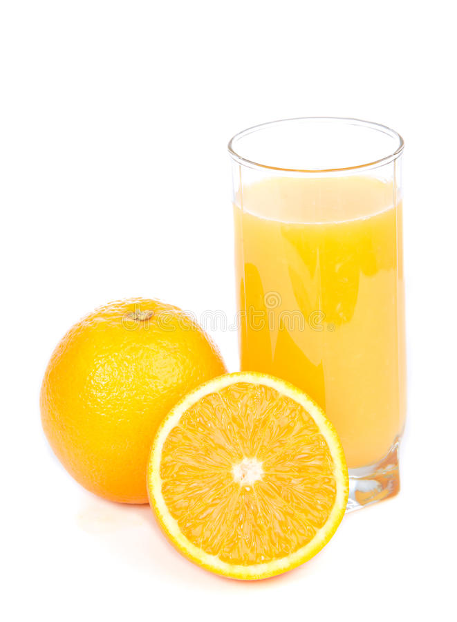 Download Glass Of Orange Juice And Slices Of Orange  On A White B Stock Image - Image: 29286373