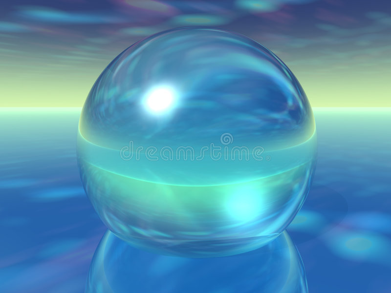 Glass Orb on surreal atmosphere. Blue Green Glass Orb on surreal atmosphere vector illustration