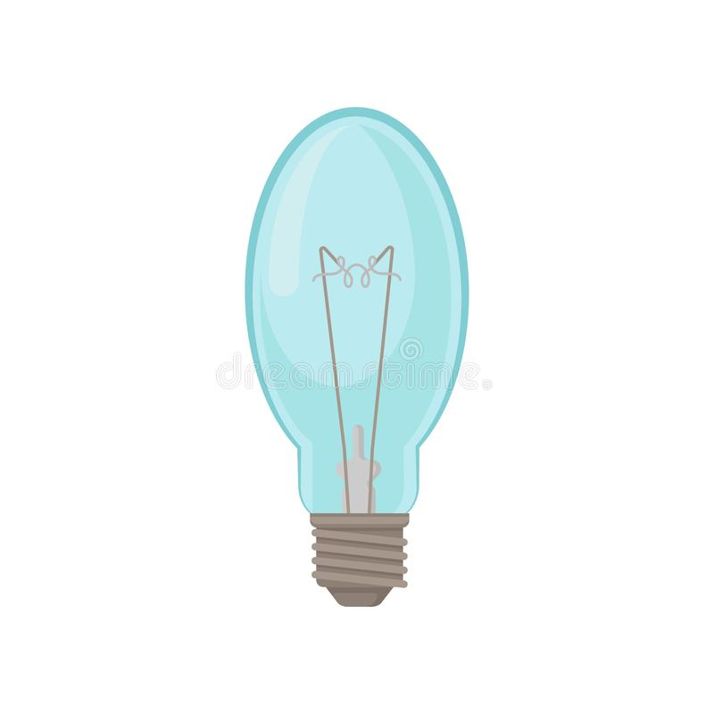 Glass oval-shaped lamp. Incandescent light bulb. Electricity theme. Flat vector element for advertising poster of stock illustration