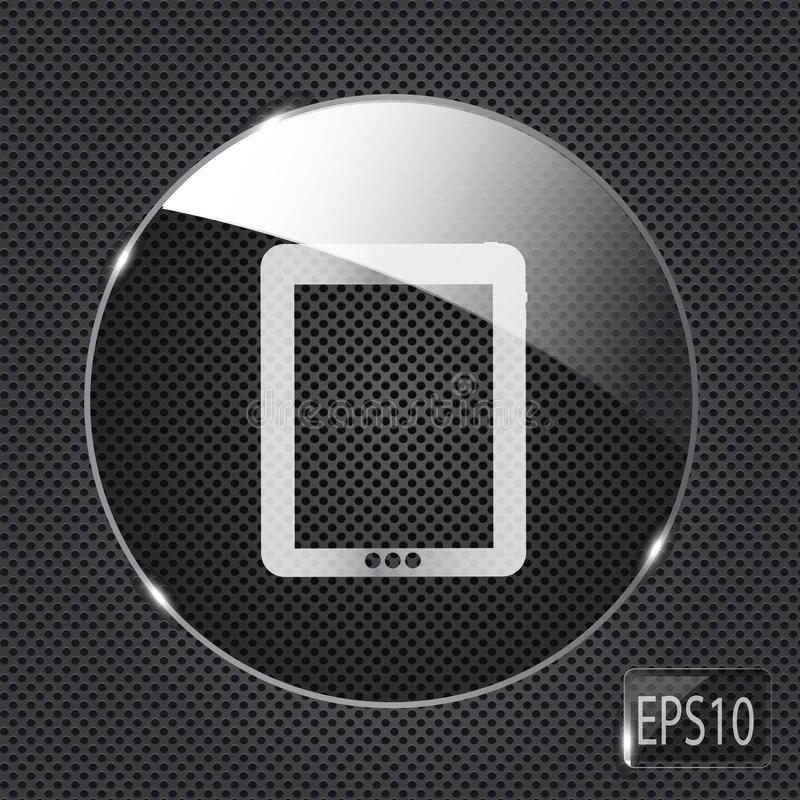 Glass pad button icon on metal background. Vector royalty free illustration