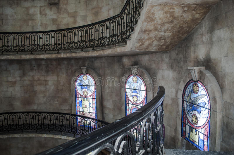Glass painting. In the medieval castle stock image