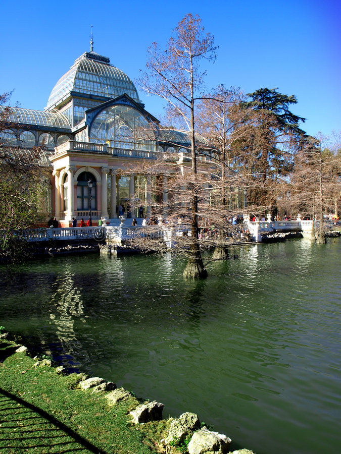 Glass Palace Retiro Park Madrid royalty free stock photography