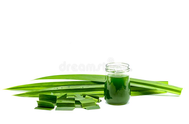 Glass of pandan juice and fresh Pandan leaves isolated on white background,copy space stock images