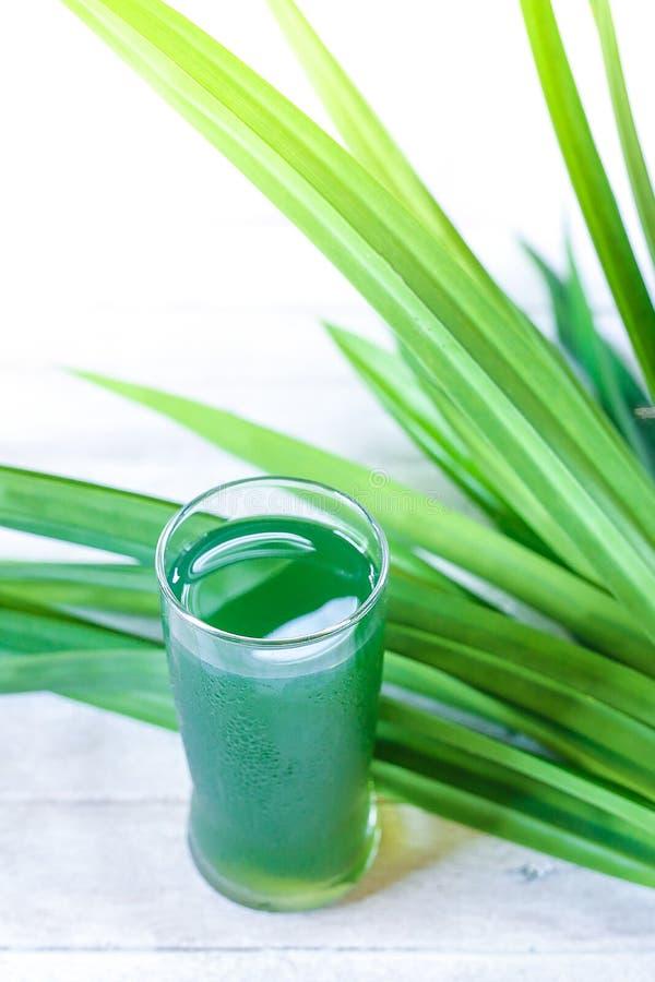 Glass of pandan juice. stock photos