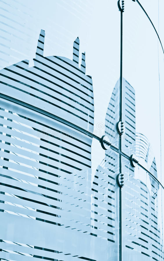 Glass panels. On a modern building with details of the reinforcing structures royalty free stock photo
