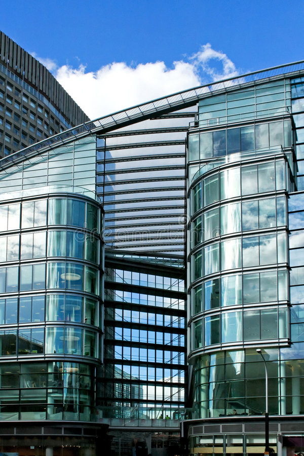 Glass passage. Business building passage all in windows and glass royalty free stock image