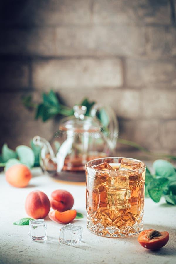 Peach or apricot iced tea royalty free stock photos
