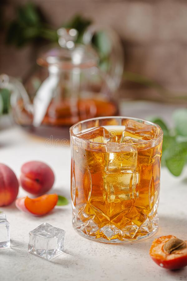 Peach or apricot iced tea stock image