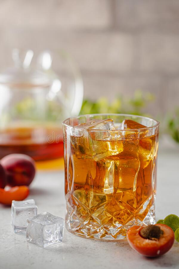 Peach or apricot iced tea royalty free stock photo