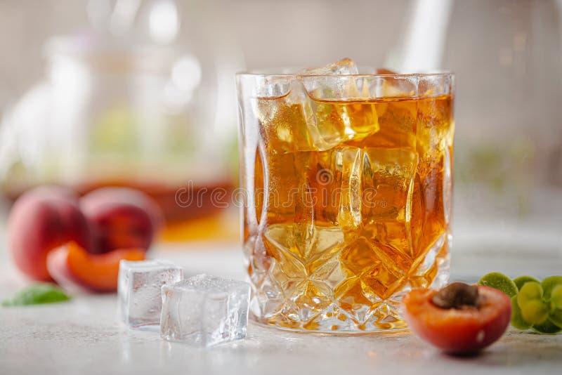 Peach or apricot iced tea stock photo
