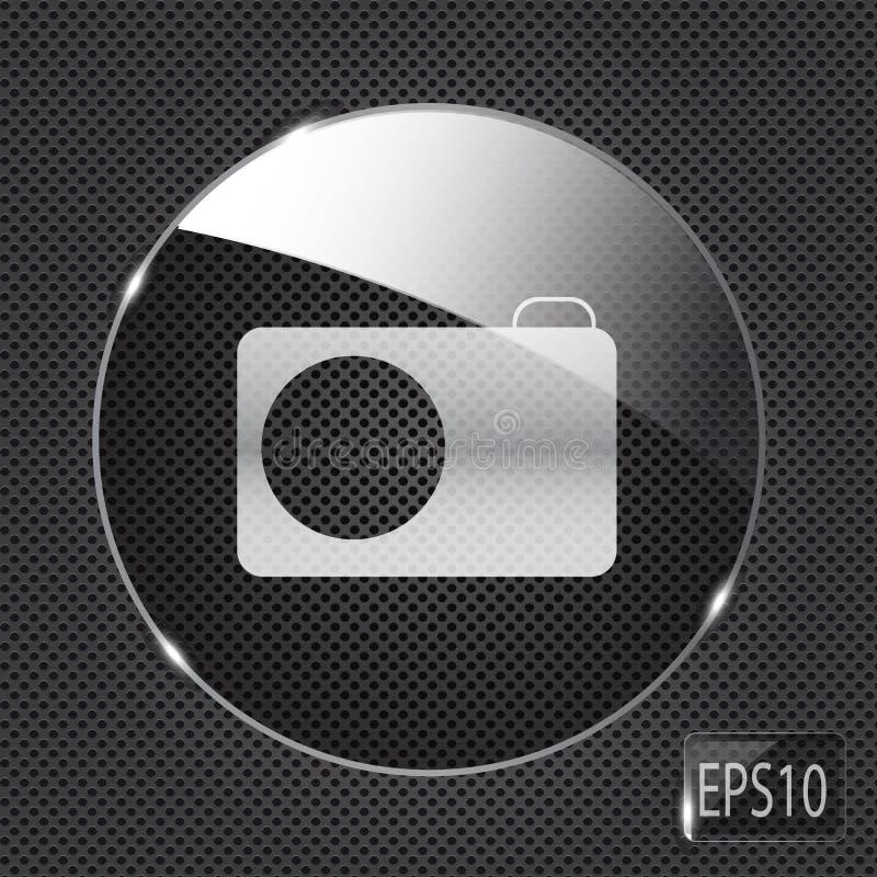 Glass photo button icon on metal background. stock illustration
