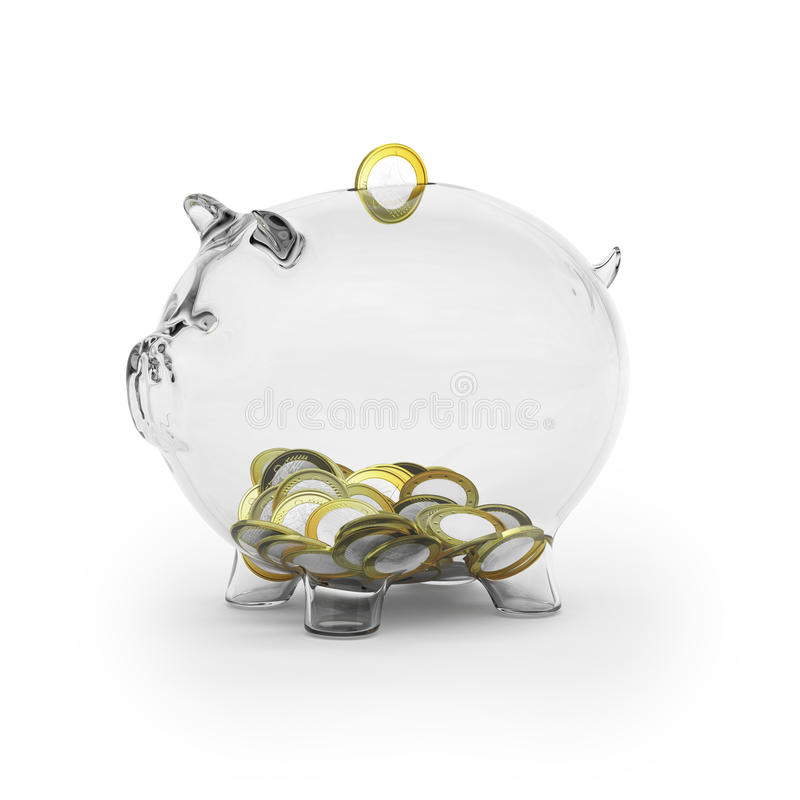 Glass piggy bank with euro coins stock image