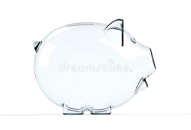 Glass piggy bank isolated stock photography