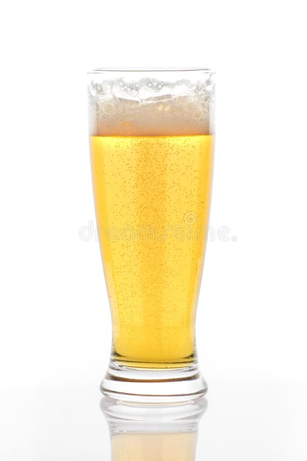 Pilsner Glass with a sip missing stock images