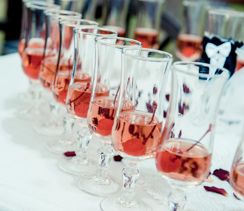 Download Glass of pink champagne stock image. Image of serve, array - 27659571