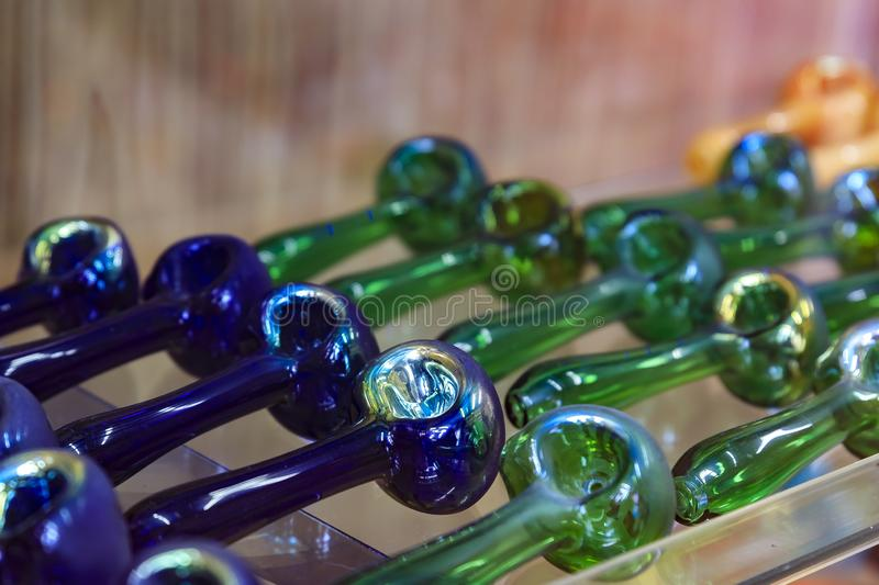 Glass pipes on display for smoking marijuana known as weed or pot in a store in San Francisco famous Haight Ashbury stock photos