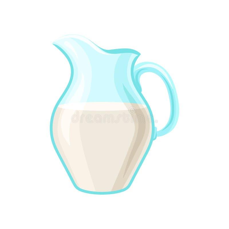 Glass pitcher of milk, dairy product cartoon vector Illustration stock illustration