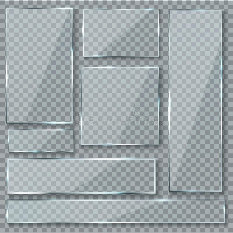Glass plate. Glass texture effect window plastic clear transparent banners plates acrylic glossy signs vector set royalty free illustration
