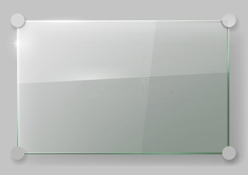 Glass plate on the wall. Transparent glass wall signboard. Vector graphics. Glass plate on the wall stock image