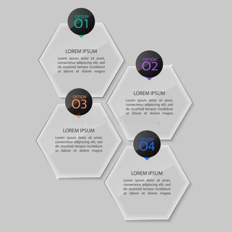 Glass plates set, infographic design. stock illustration