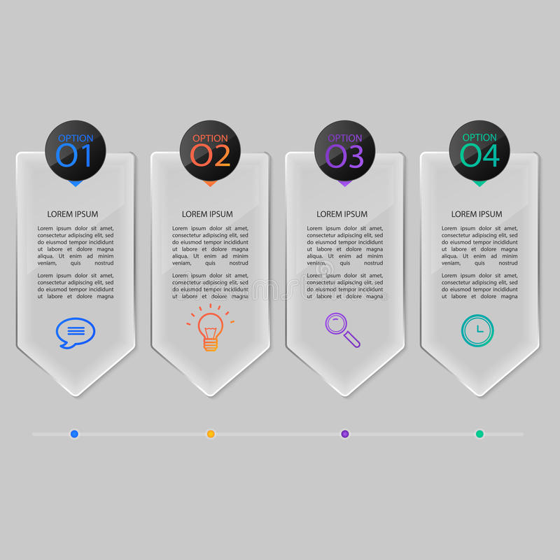 Glass plates set, infographic design. royalty free illustration