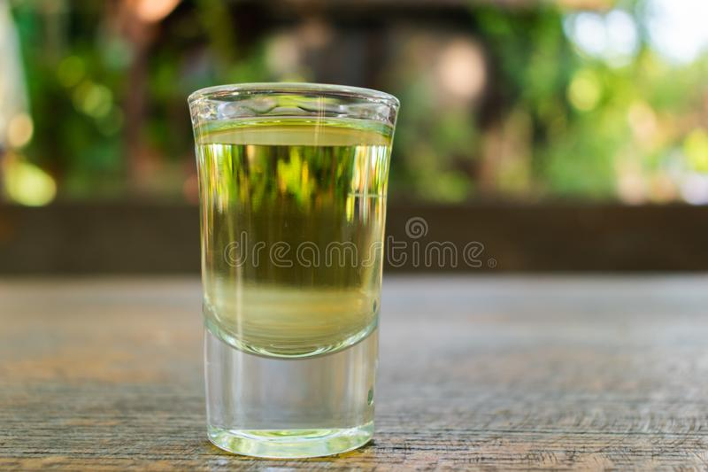 Glass of a plum brandy on a table in a garden royalty free stock photos